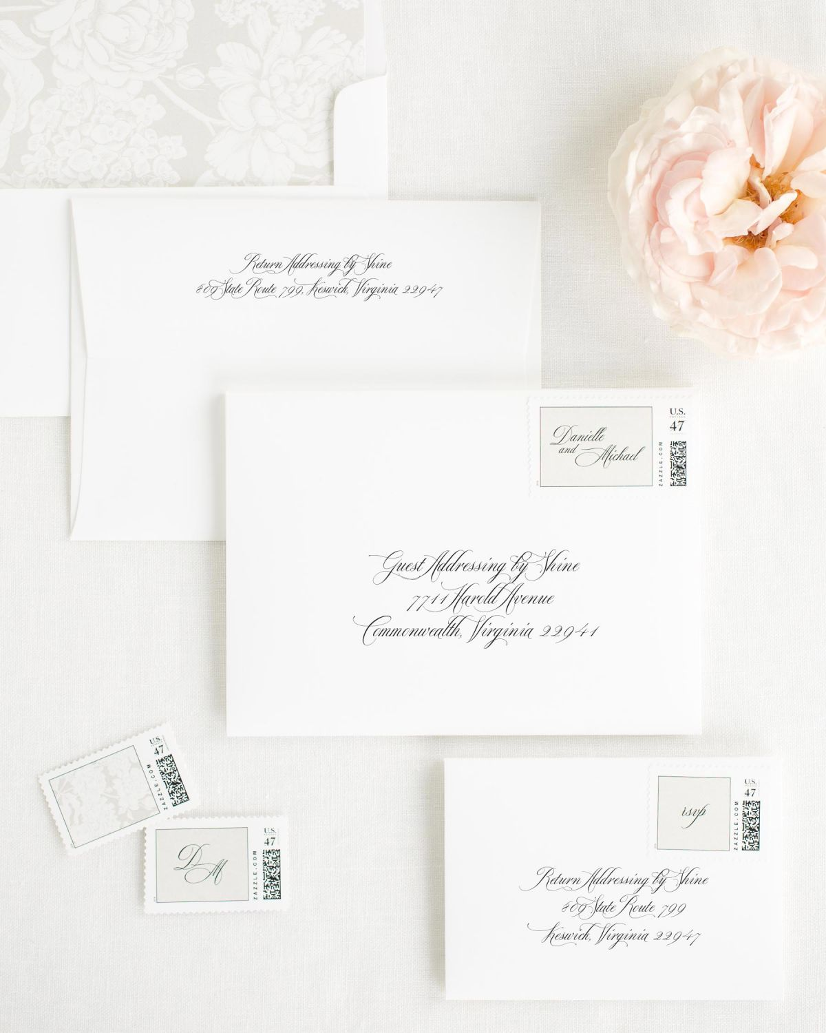 Wedding Invitation Envelopes with Feather Personalized Stamps and Hydrangea Liner