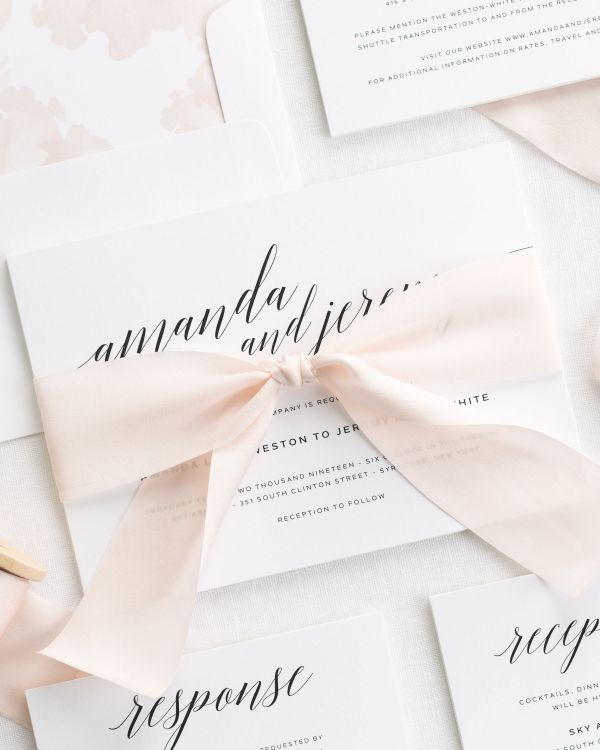 Daring Romance Ribbon Wedding Invitations