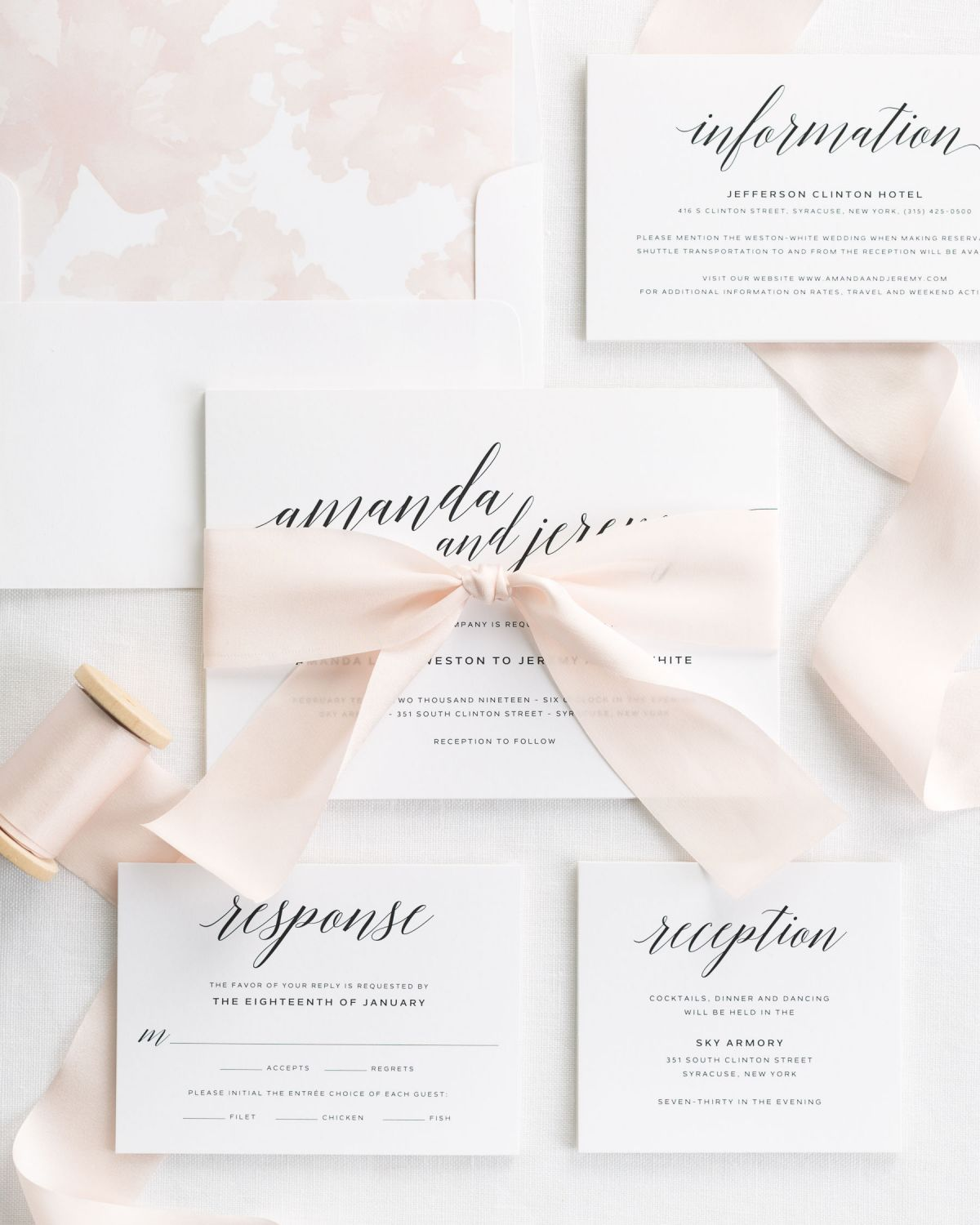 Complete Wedding Invitations [or Complete Wedding Invitation Suite with Light Pink Ribbon and Enclosures