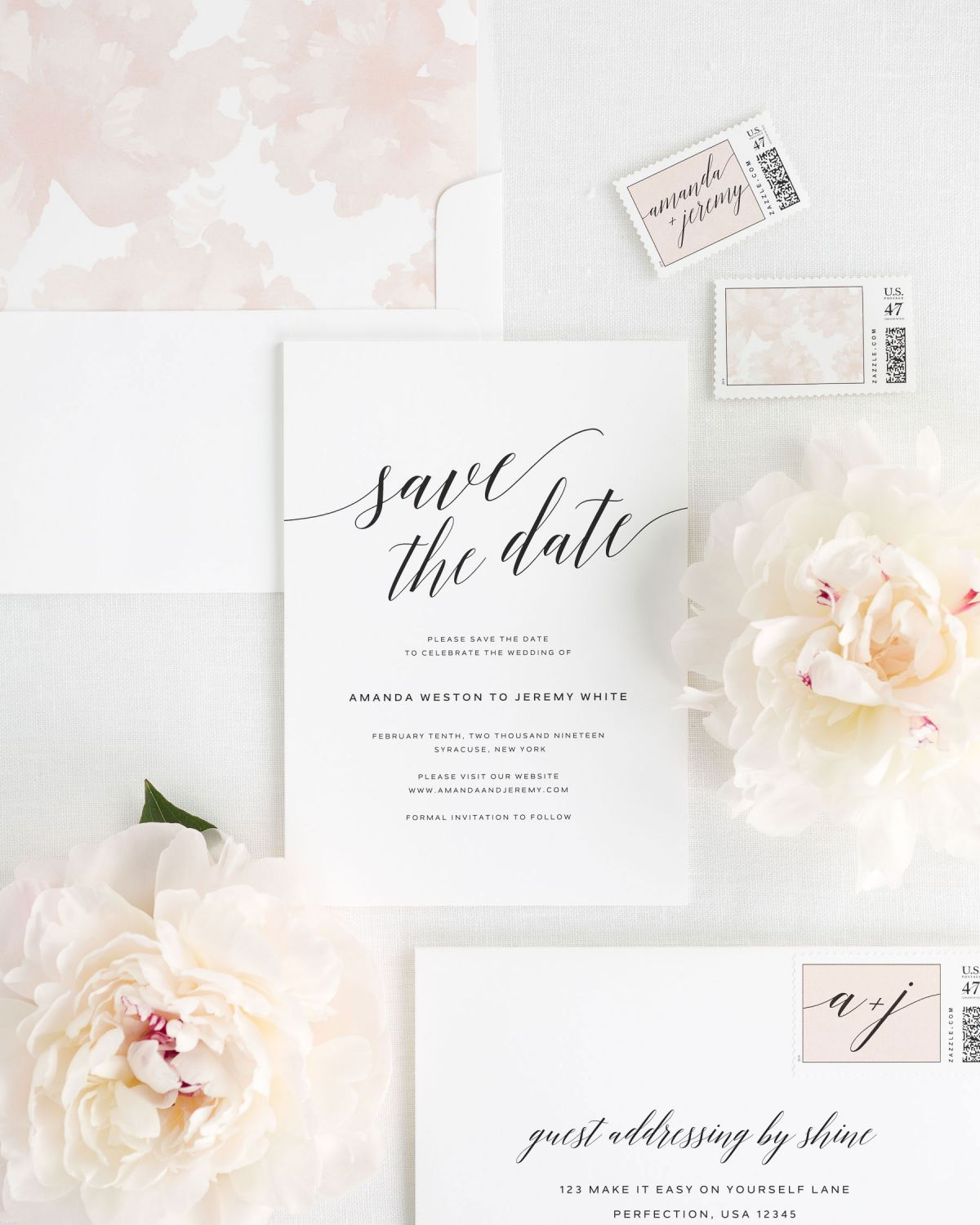 Save the Date with Rose Gold Envelope Liner and Custom Stampe