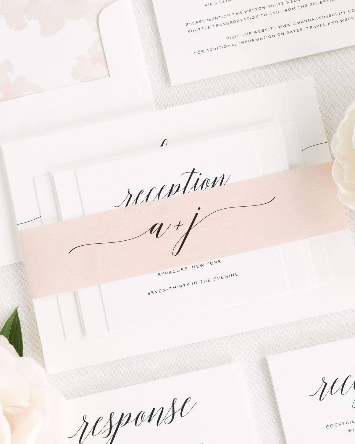 Rose Gold Wedding Invitations with Belly Band and Peony Envelope Liner