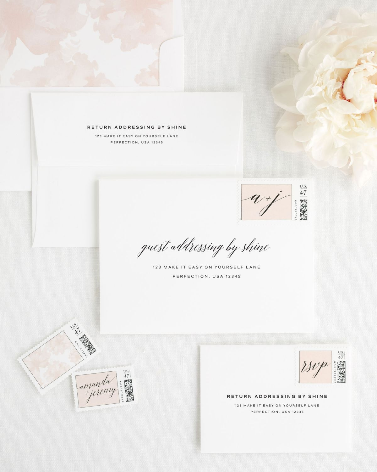 Wedding Invitation Envelopes with Rose Gold Postage Stamps and Peony Liner