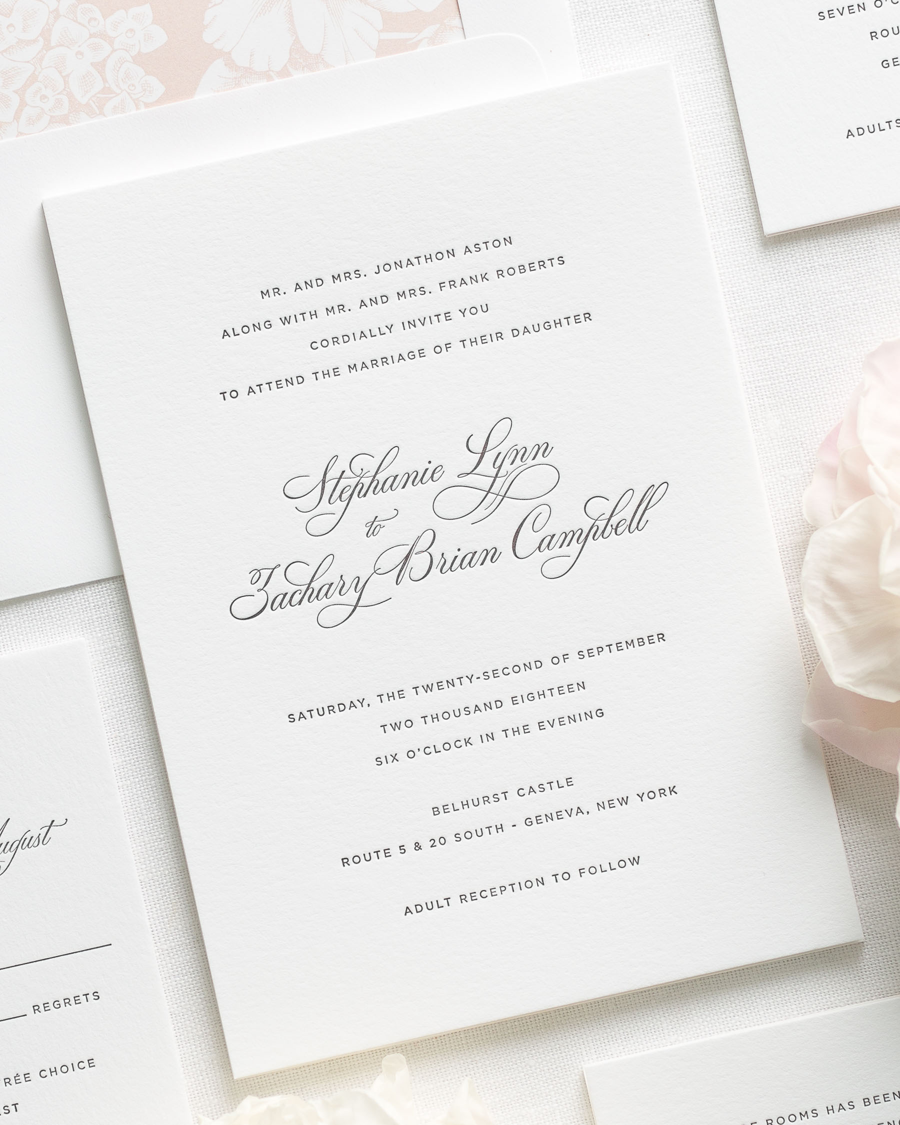 Delicate Elegance Letterpress Wedding Invitations