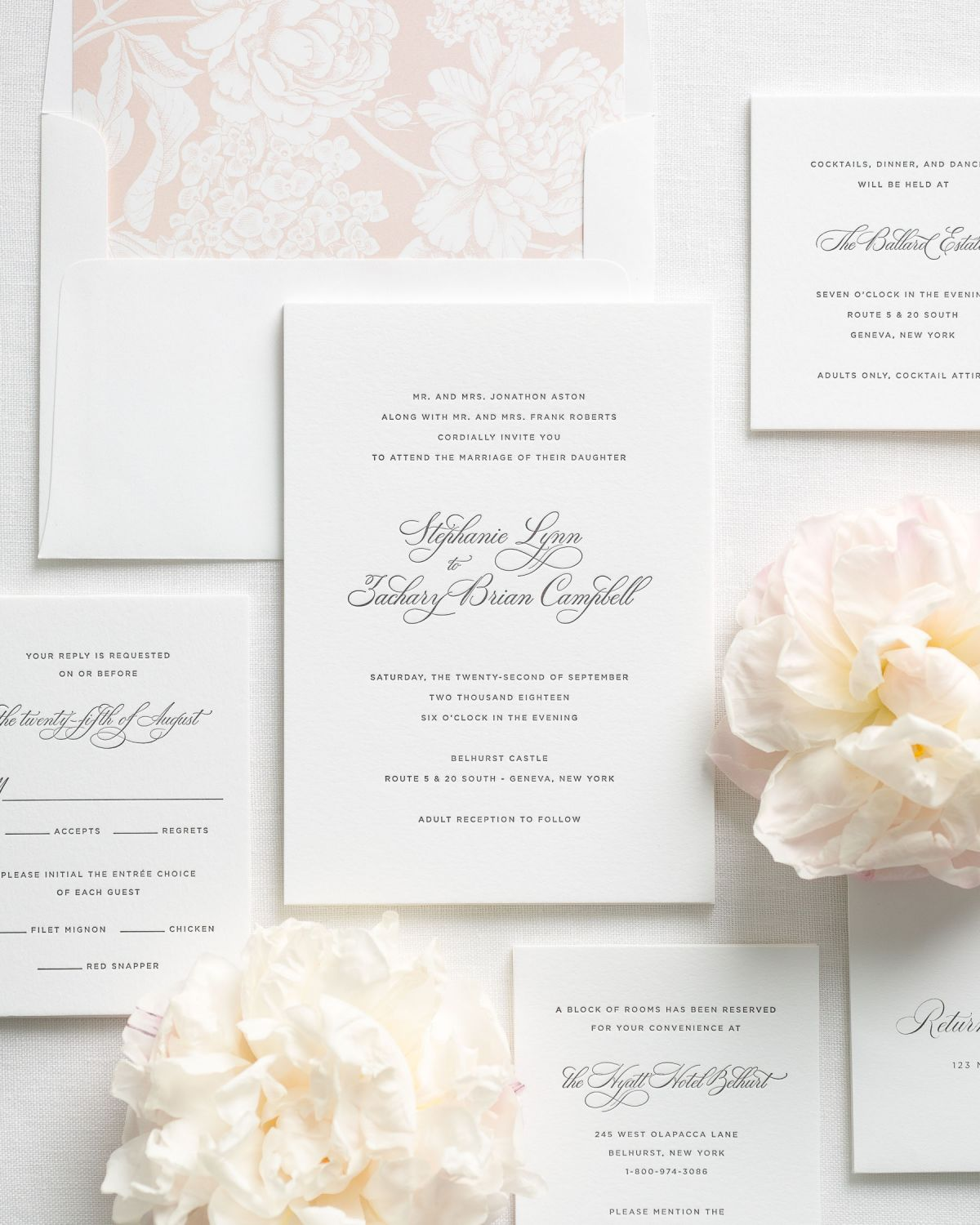 Delicate Elegance letterpress stationery suite