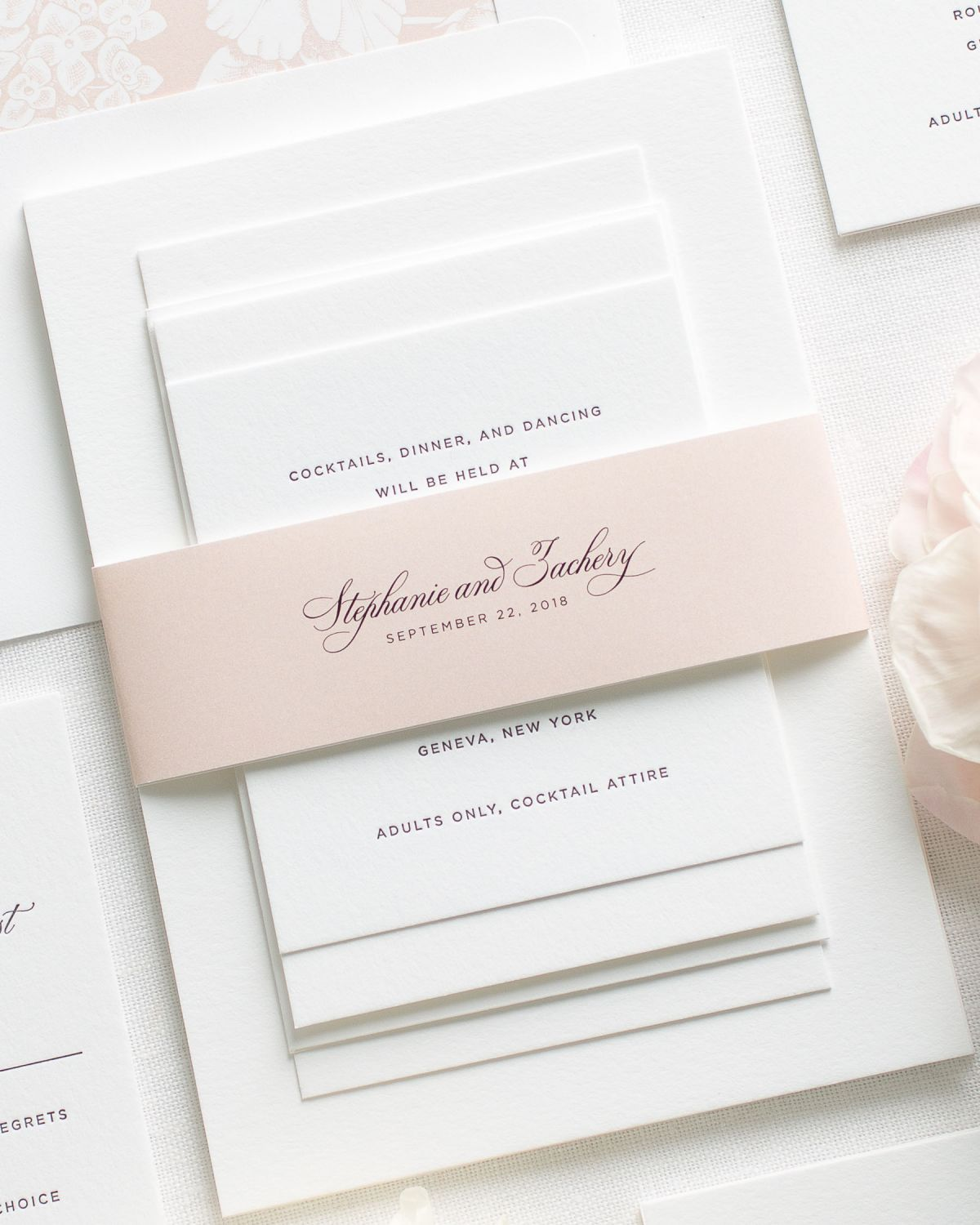 Blush Wedding Invitations With Belly Bands And Letterpress Printing