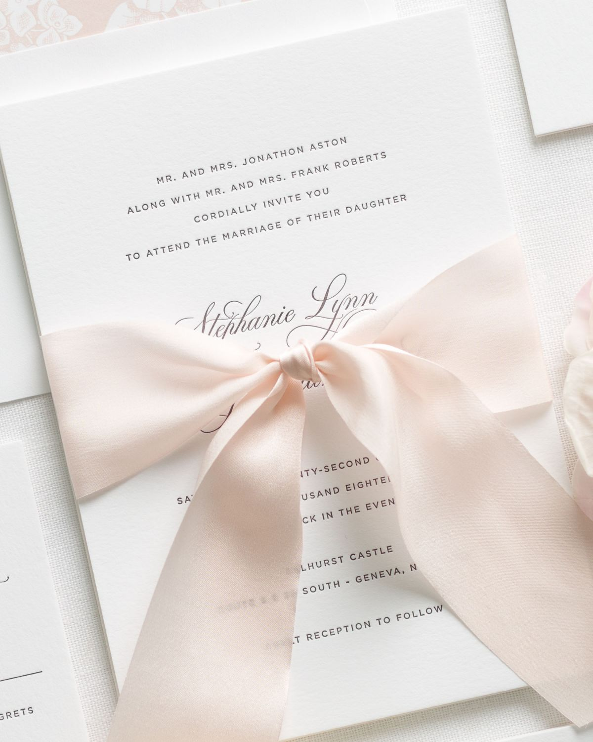 Elegant Letterpress Invitations in blush pink