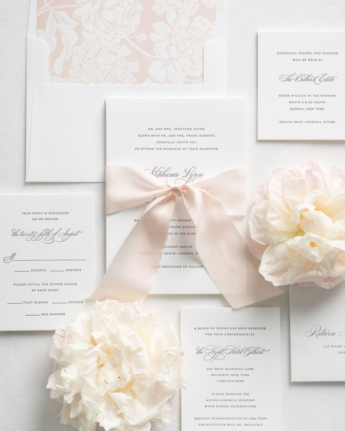 Light Pink Wedding Invitations with Silk Ribbon and Letterpress Printing