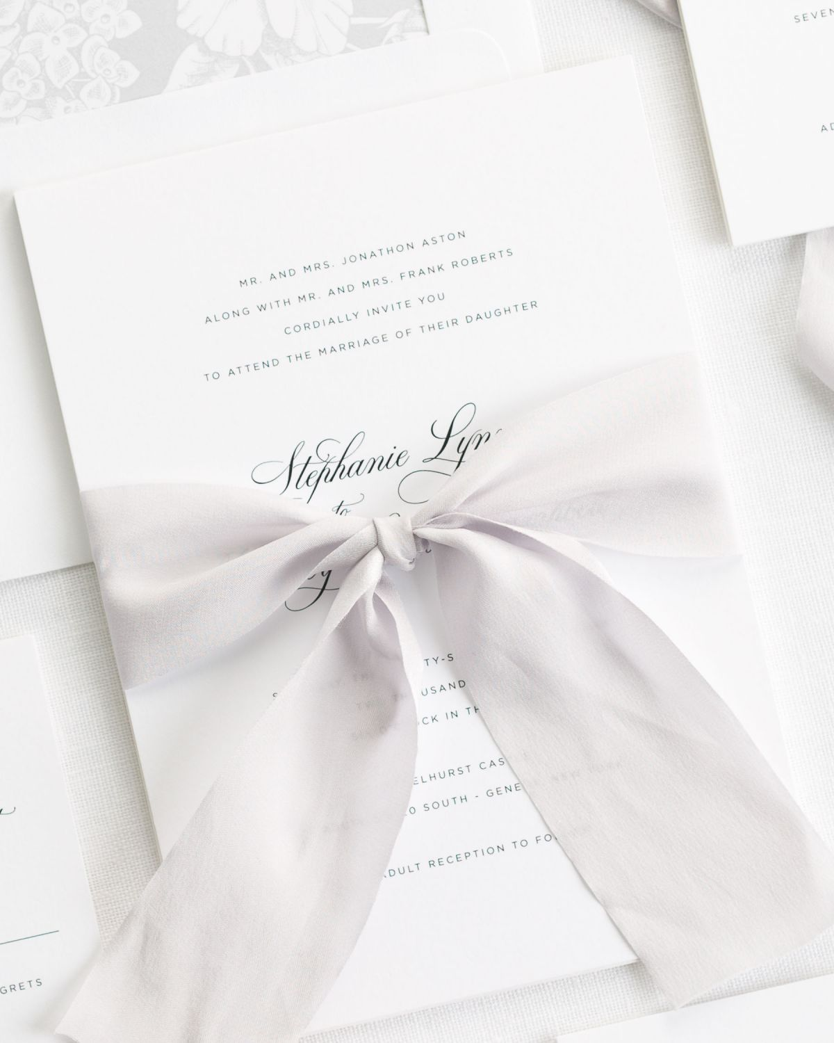 Wedding Invitations With Ribbons: Delicate Elegance Ribbon Wedding Invitations