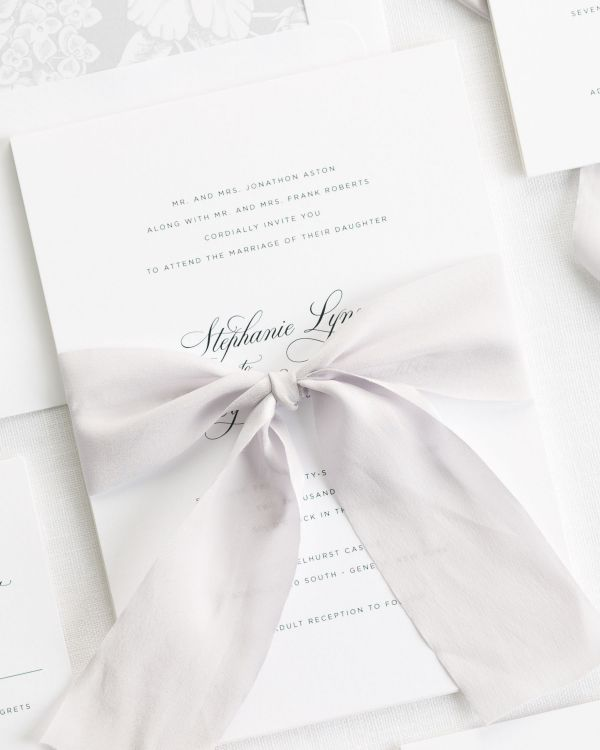 Delicate Elegance Ribbon Wedding Invitations