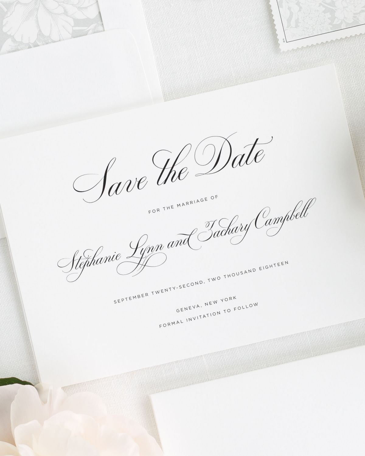 Save the Date with Silver Envelope liner and Custom Stamps