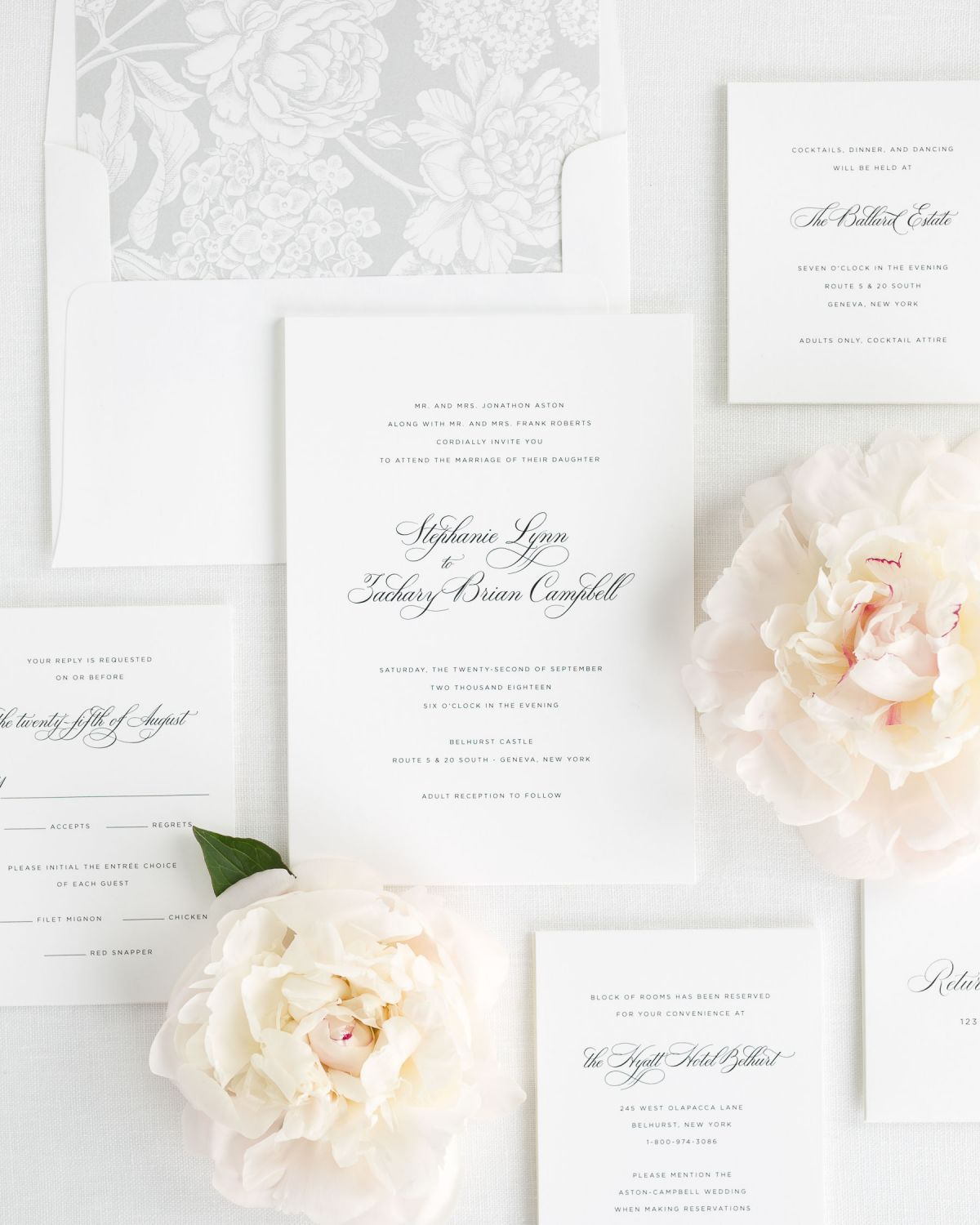 Simple and Classic Script Wedding Invitations with a Floral liner
