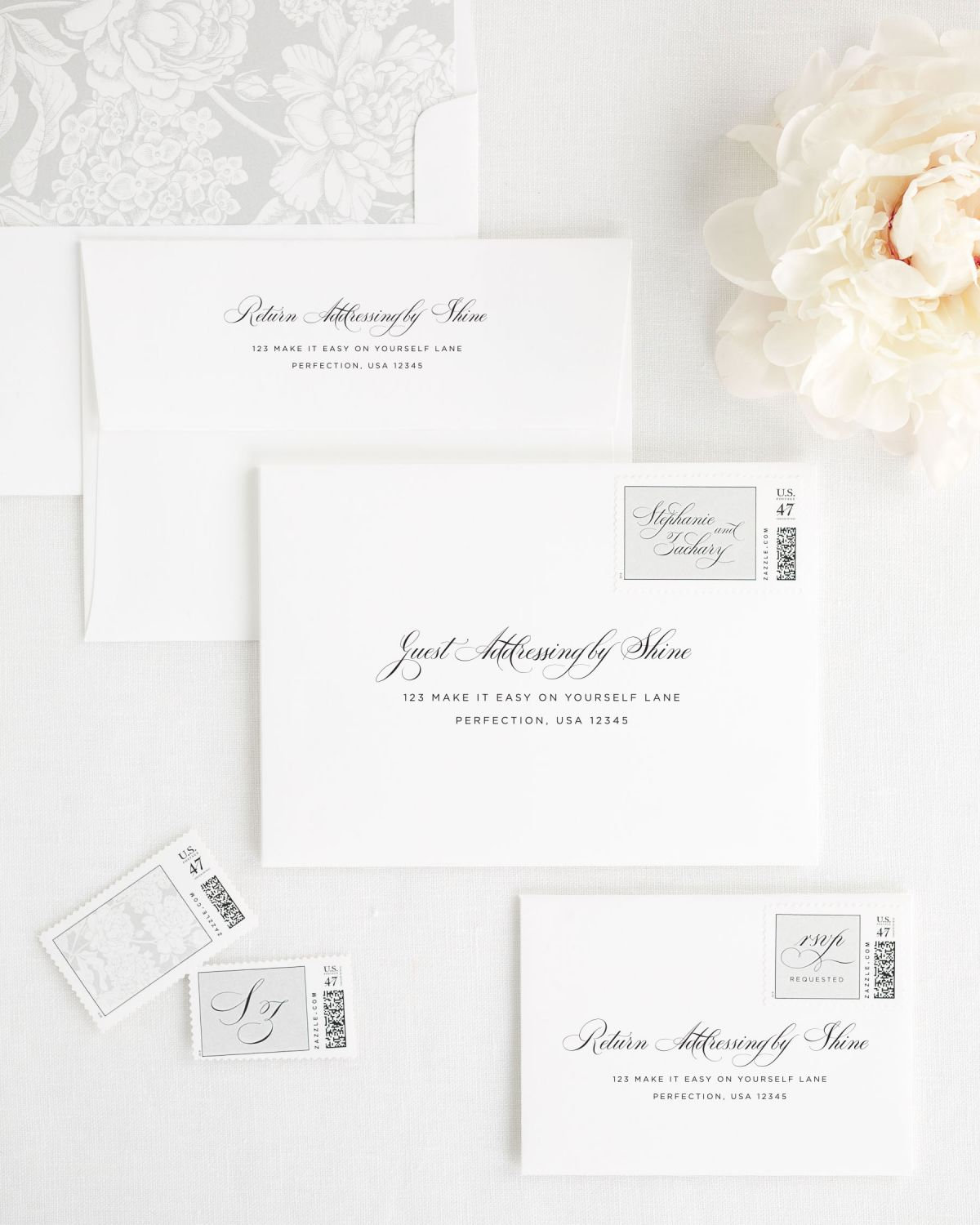 Wedding Invitation Envelopes with Silver Personalized Postage and Flower Liner