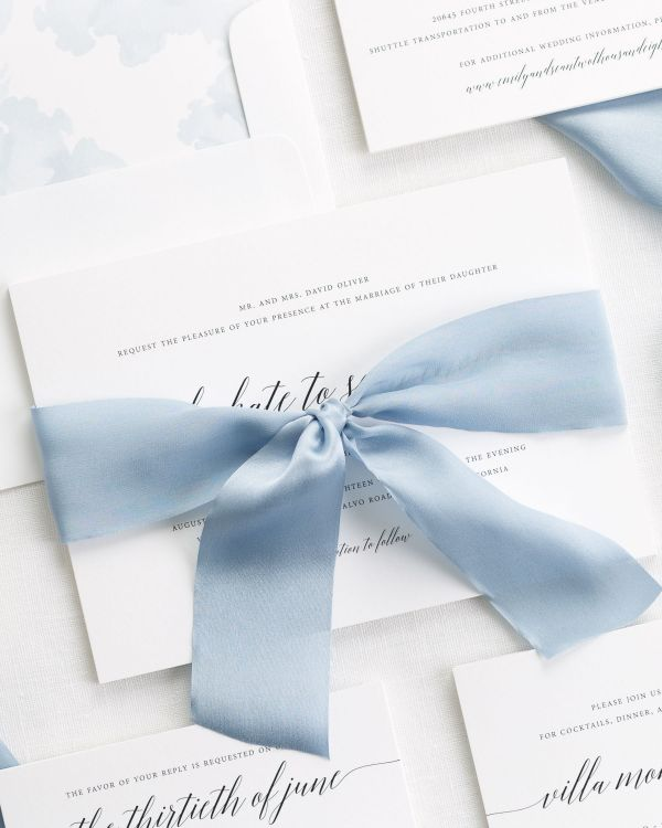 Delicate Romance Ribbon Wedding Invitations