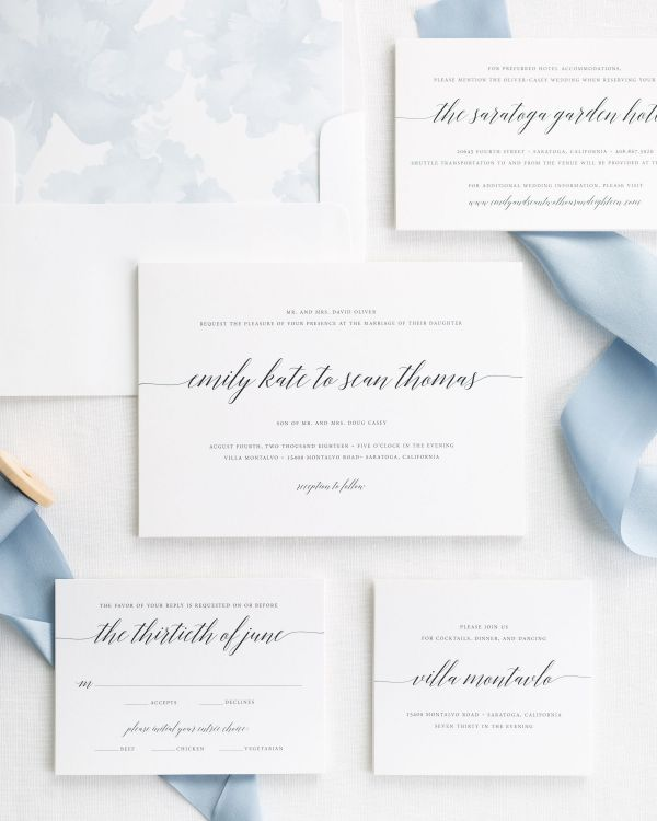 French blue ribbon wedding invitations with an ice blue watercolor peonies liner