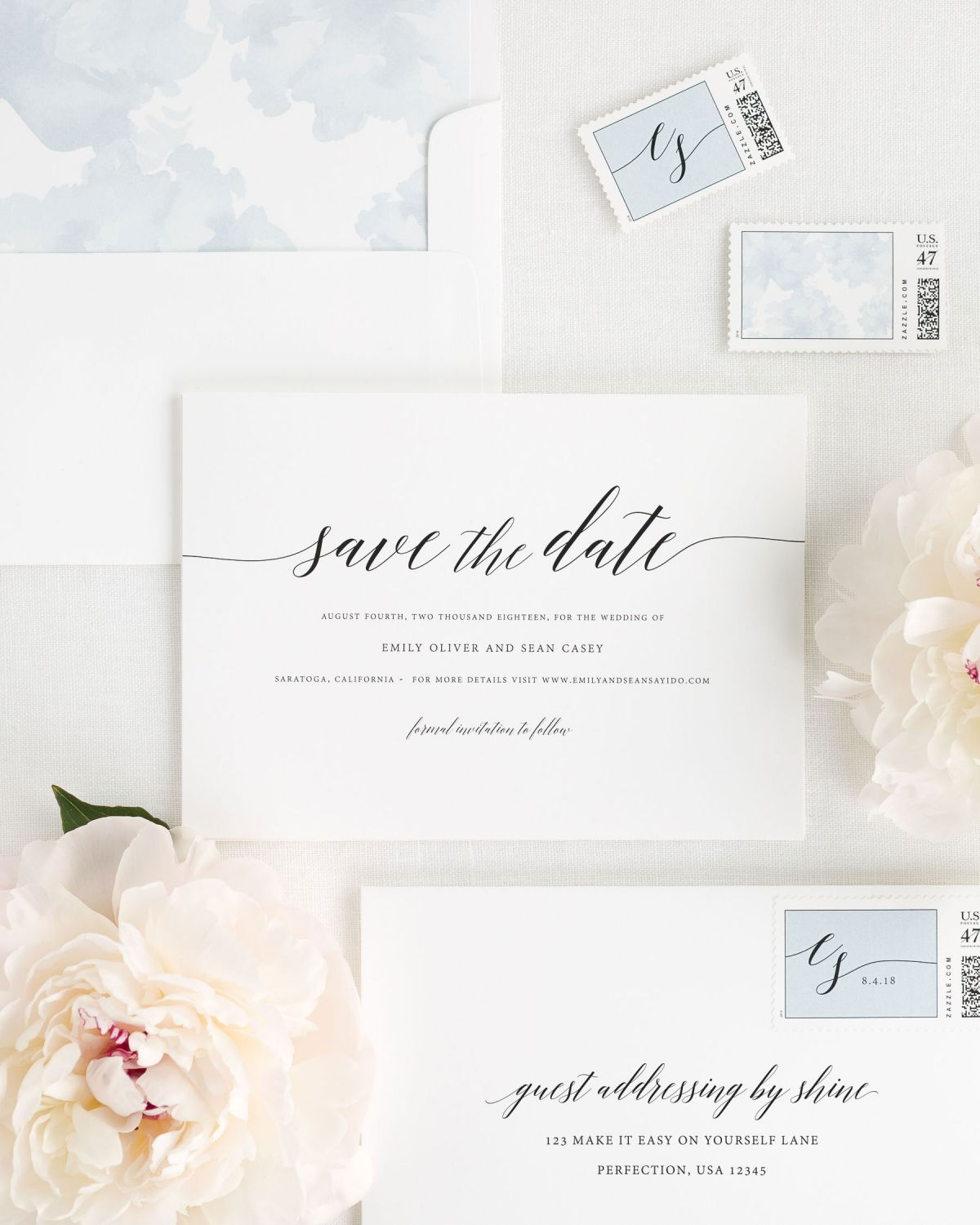 Save the Date with Ice Blue Envelope Liner and Custom Postage