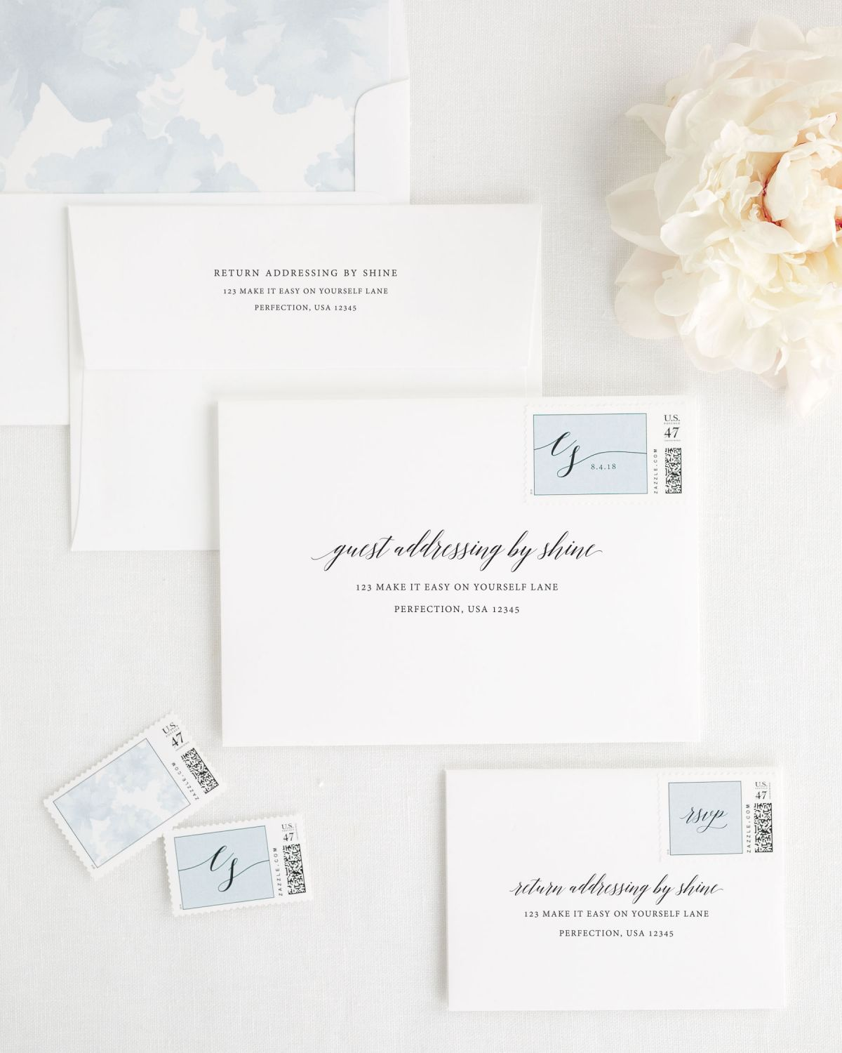 ... Wedding Invitation Envelopes With Ice Blue Postage Stamps And  Watercolor Liner ...