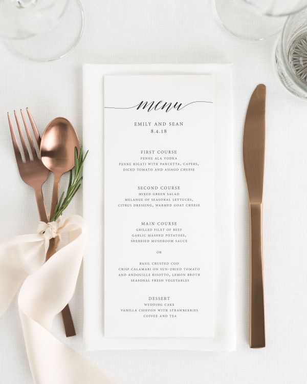 Delicate Romance Wedding Menus
