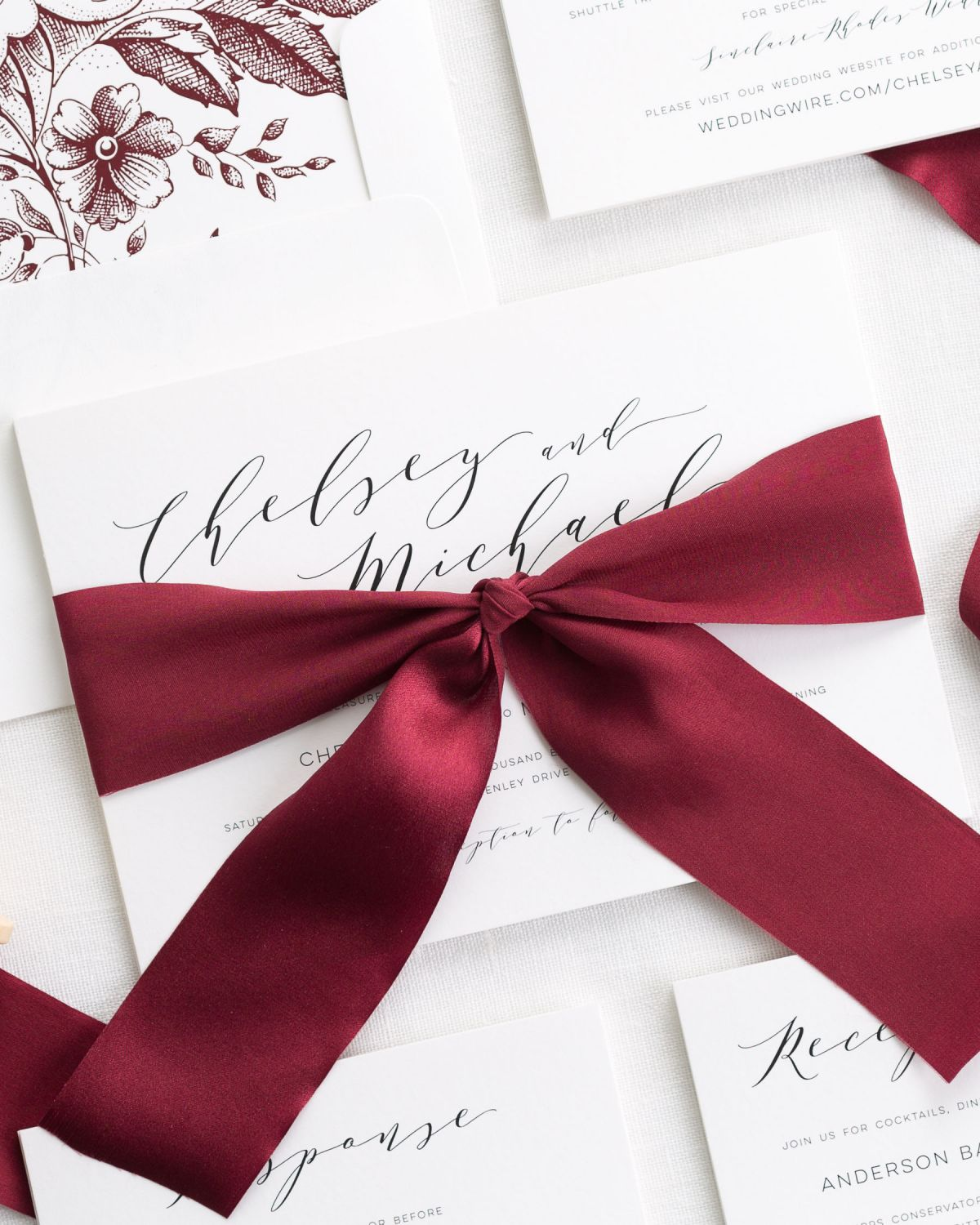 Dramatic Romance Ribbon Wedding Invitations - Ribbon Wedding ...