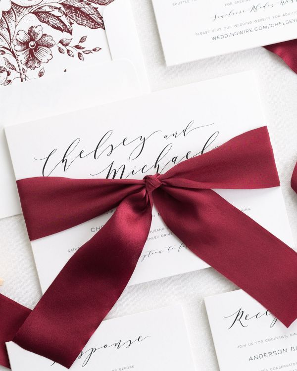 Dramatic Romance Ribbon Wedding Invitations