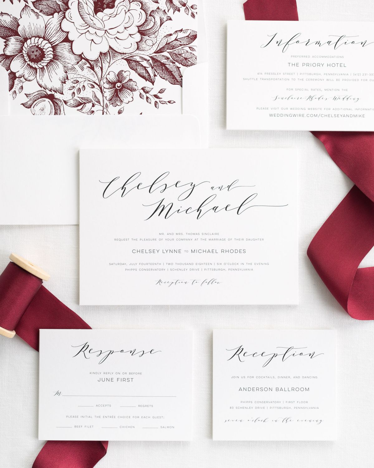Wedding Invitations With Ribbons: Dramatic Romance Ribbon Wedding Invitations