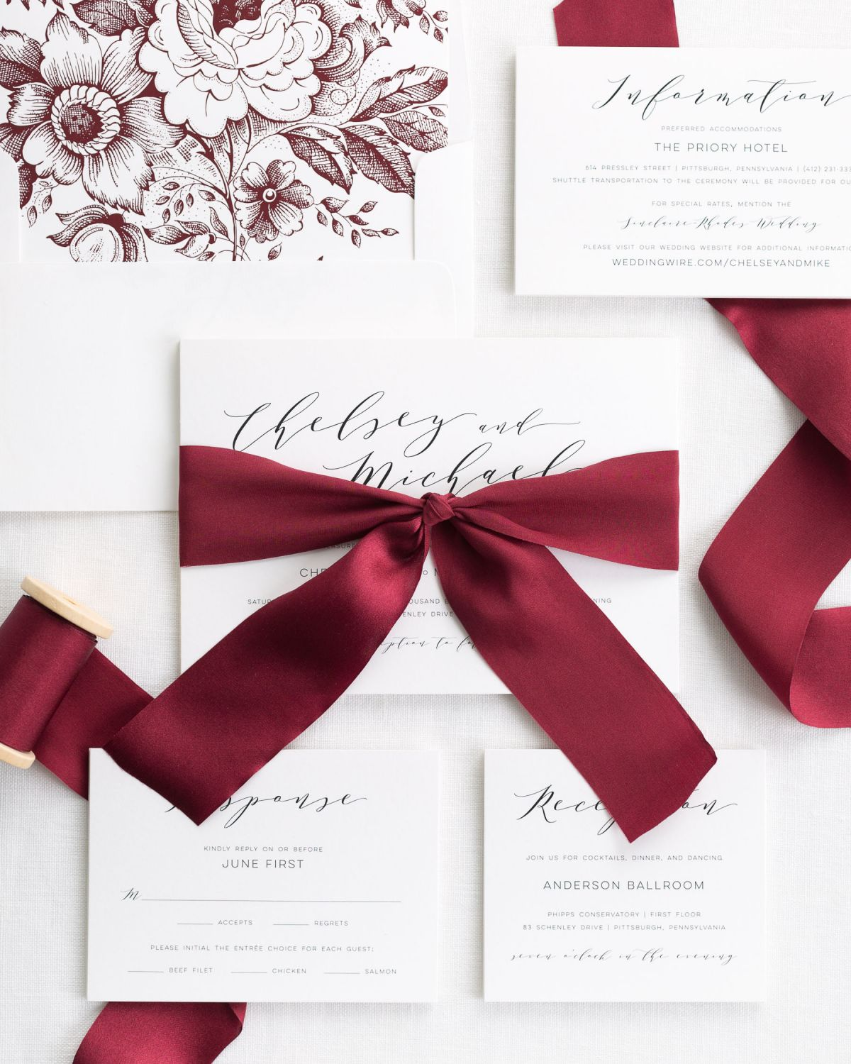 Complete Wedding Invitations Suite with Red Ribbon and Enclosures