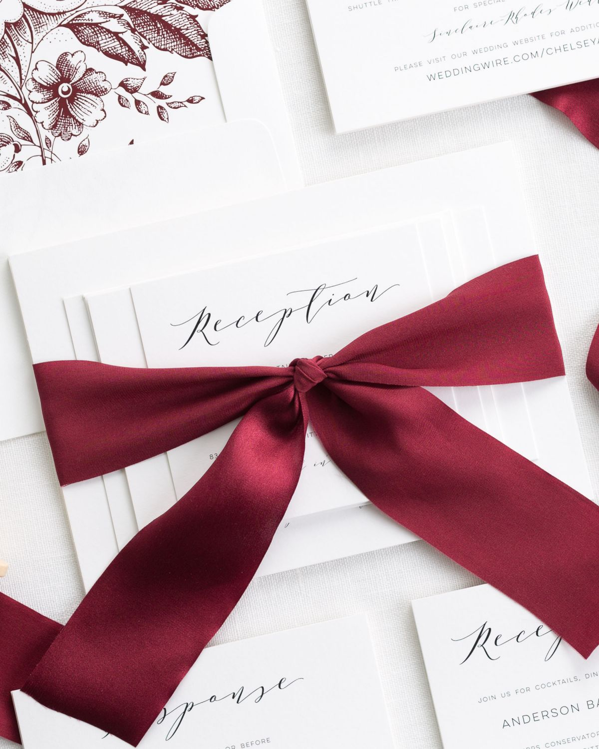 Burgandy Wedding Invitations with Silk Ribbon