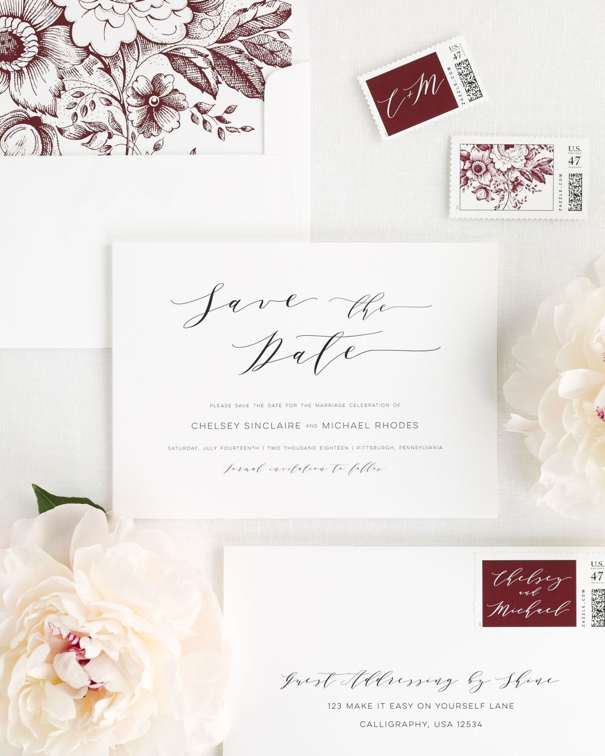 Save the Date with Cabernet Envelope Liner and Personalized Stamps