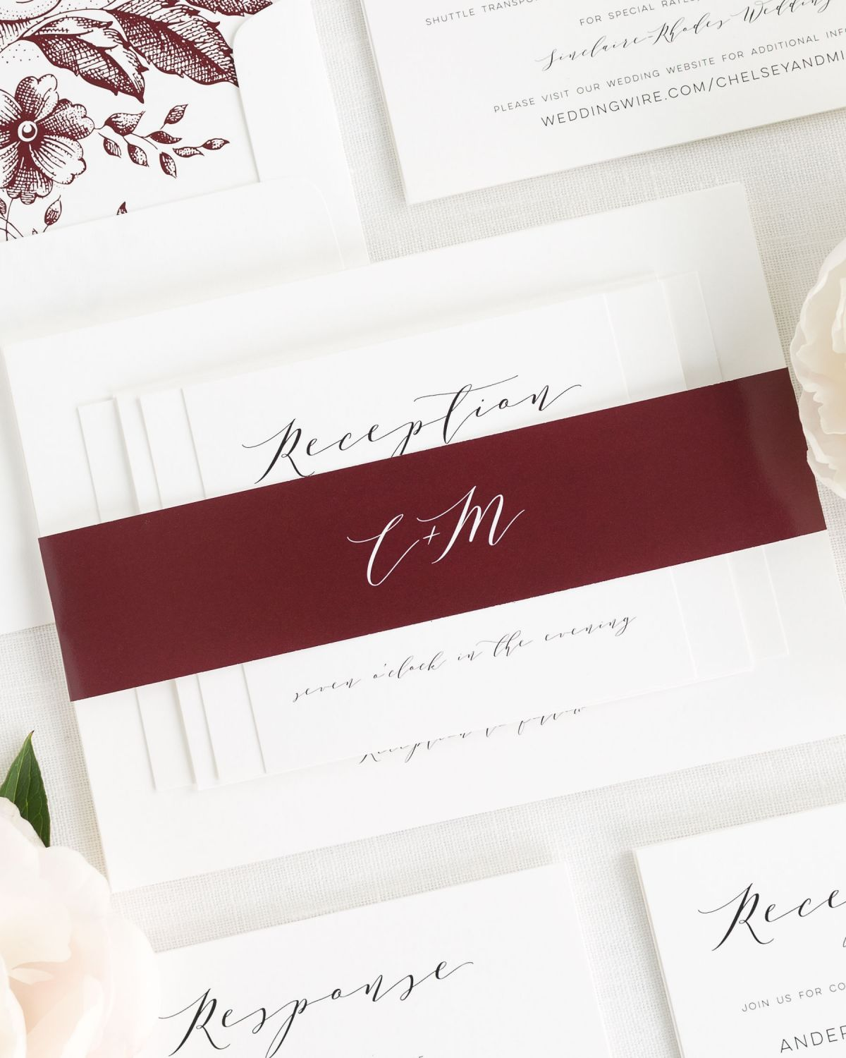 Cabernet Wedding Invitations with Belly Band and Floral Envelope Liner
