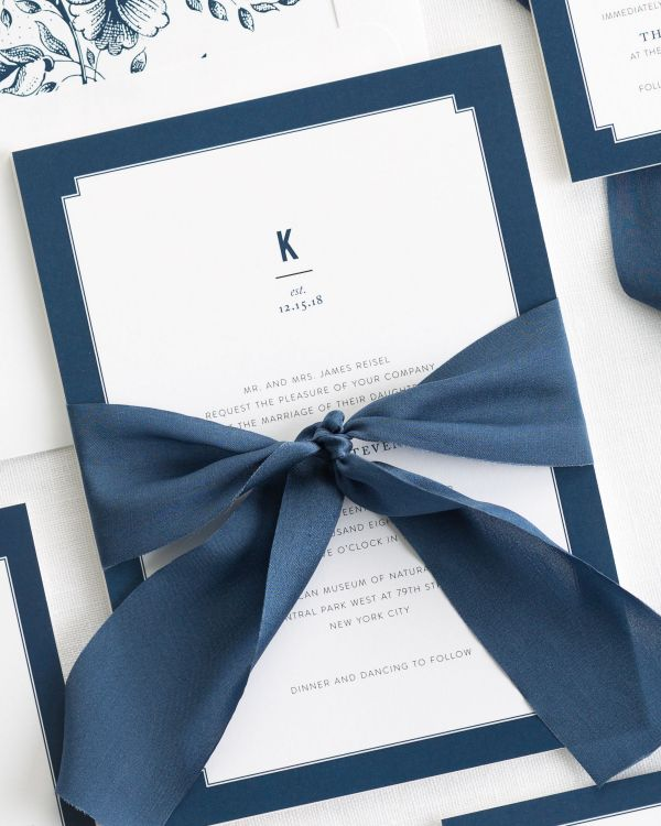 Elegant Border Ribbon Wedding Invitations