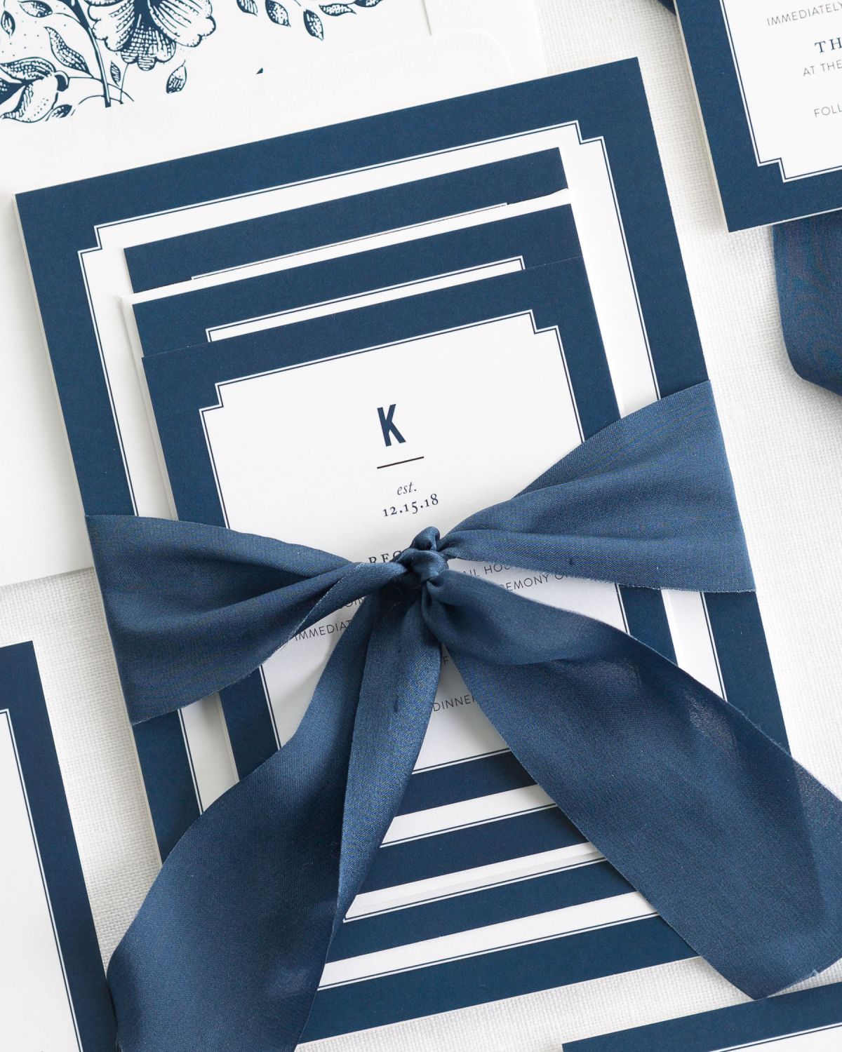 Complete Wedding Invitations [or Complete Wedding Invitation Suite with Navy Ribbon and Enclosures