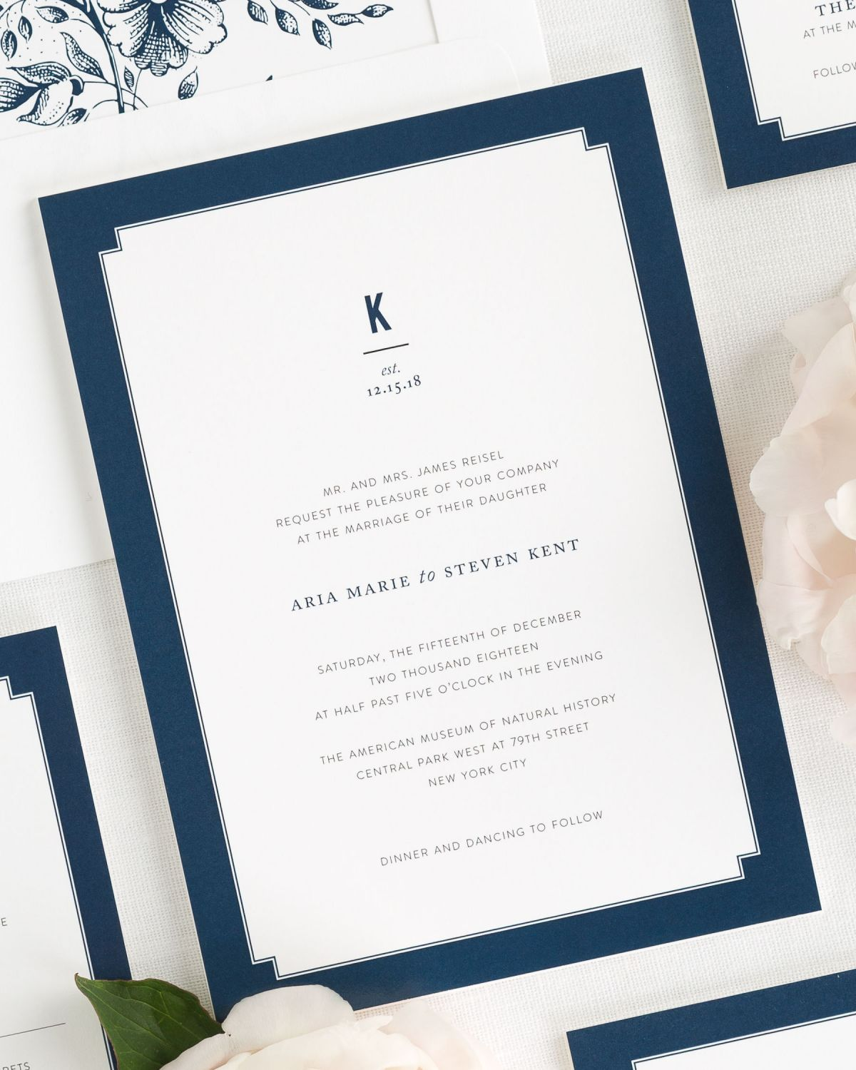 Navy Blue Wedding Invitations - Elegant Border - Wedding Invitations ...