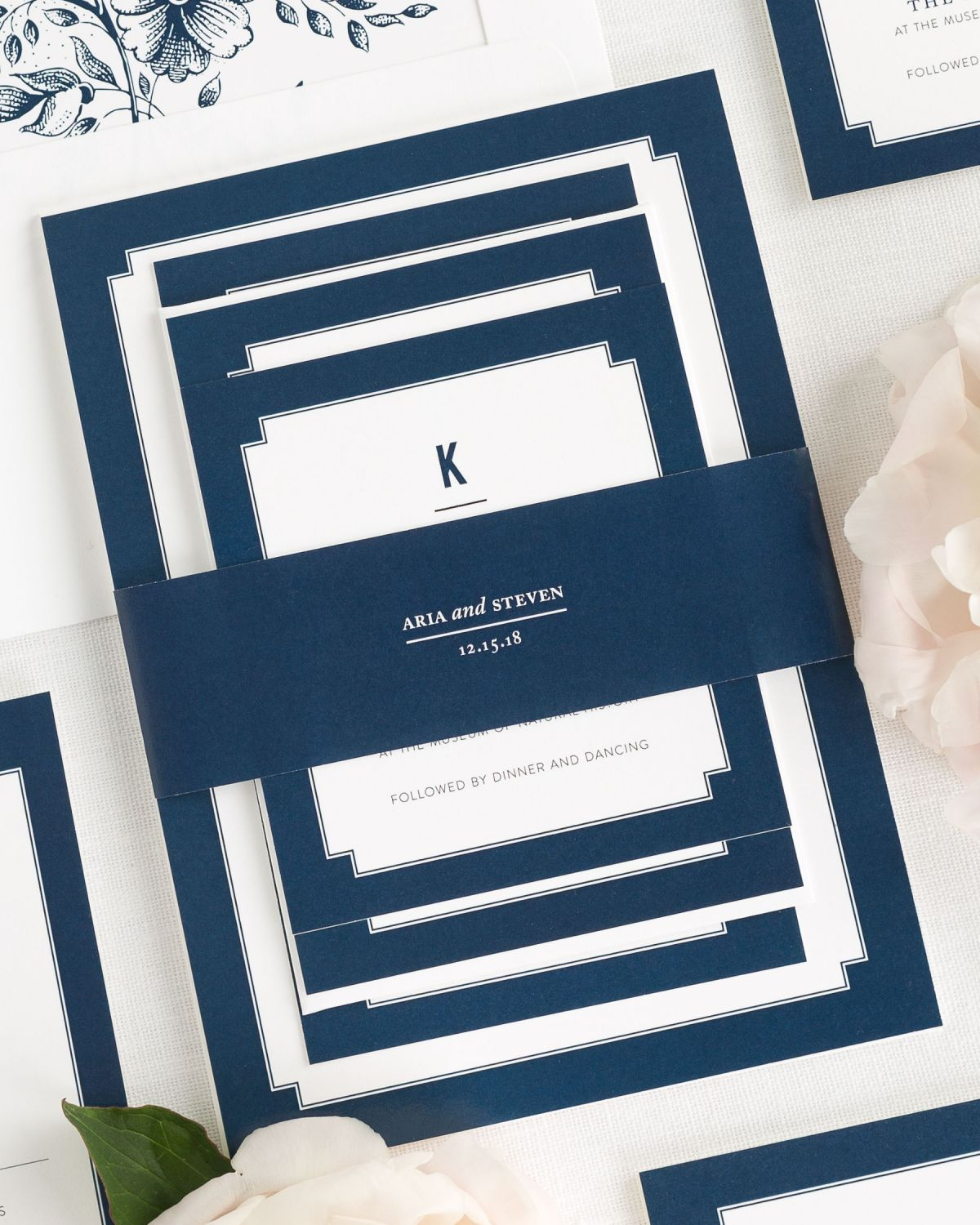 Navy Wedding Invitations with Belly Band and Flower Envelope Liner