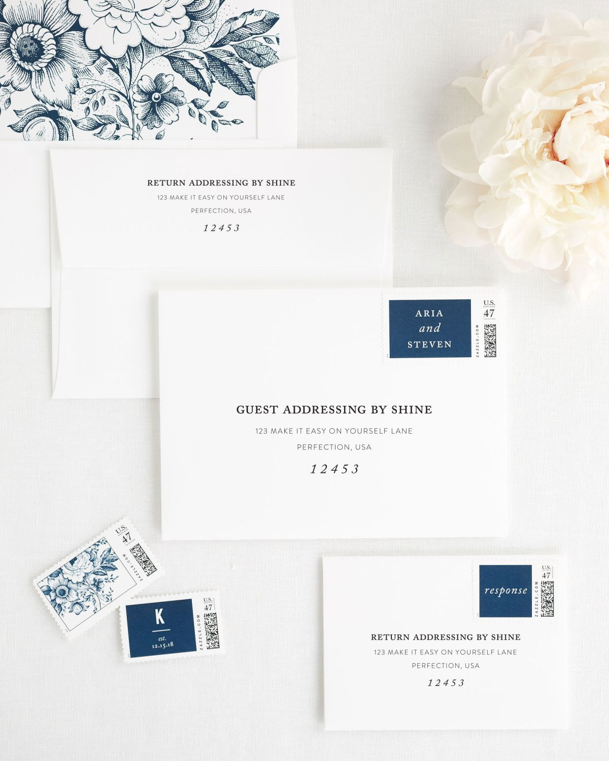 Wedding Invitation Envelopes with Navy Custom Postage and Floral Liner