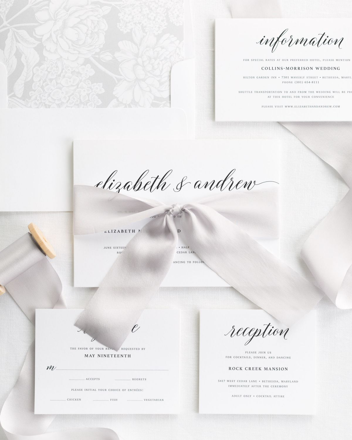 Complete Wedding Invitation Suite with Platinum Silk Ribbon and Enclosures