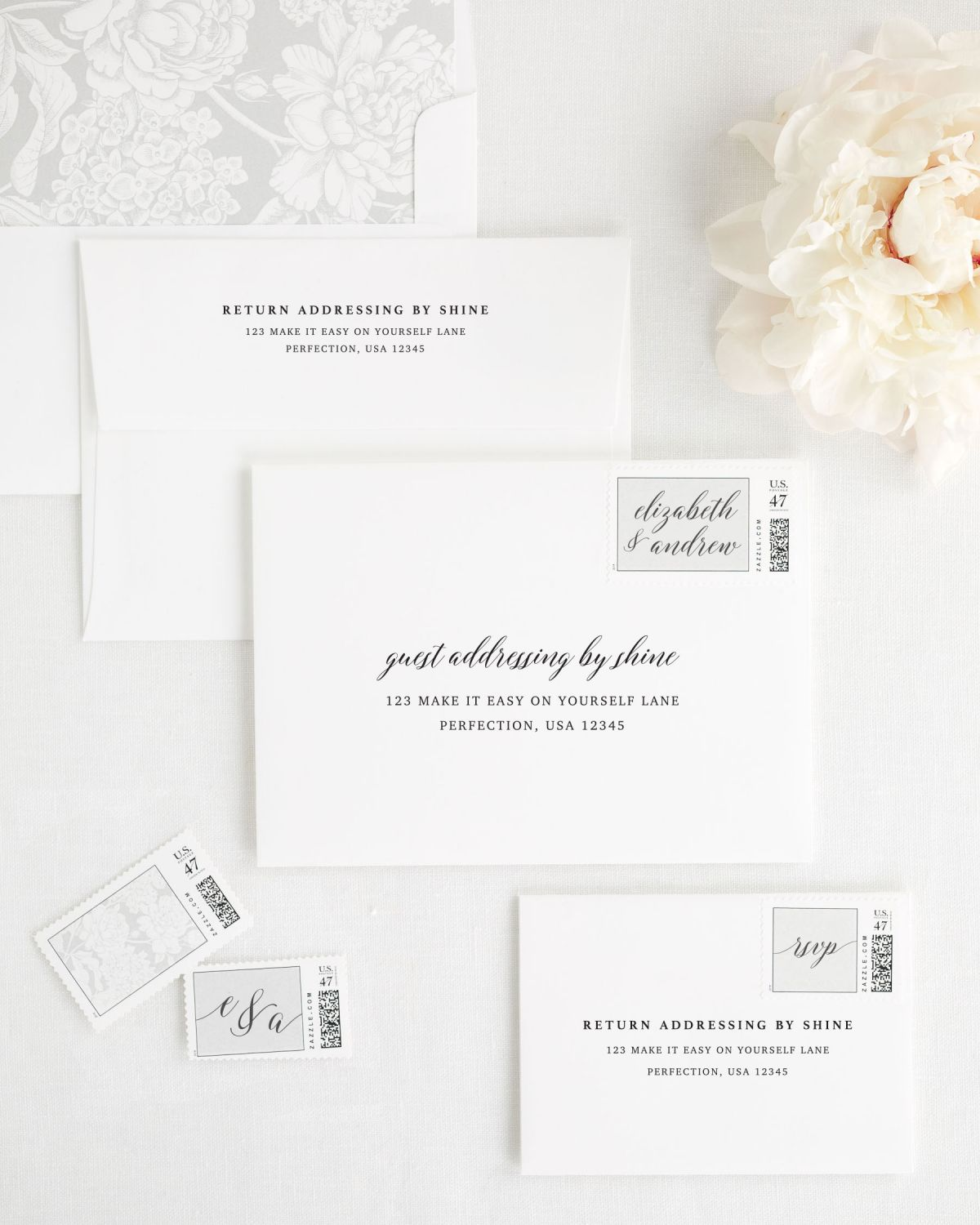 Wedding Invitation Envelopes w ith Guest Addressing and Customized Stamps