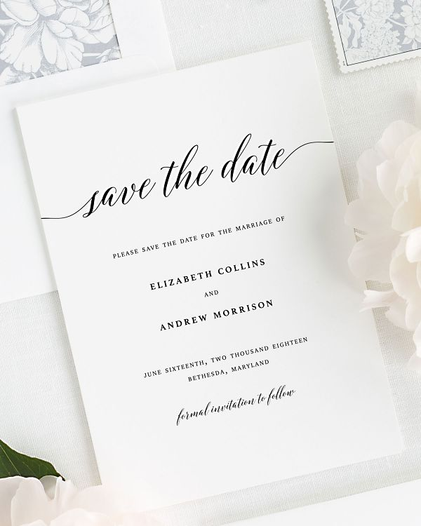 Elegant Romance Save the Date Cards