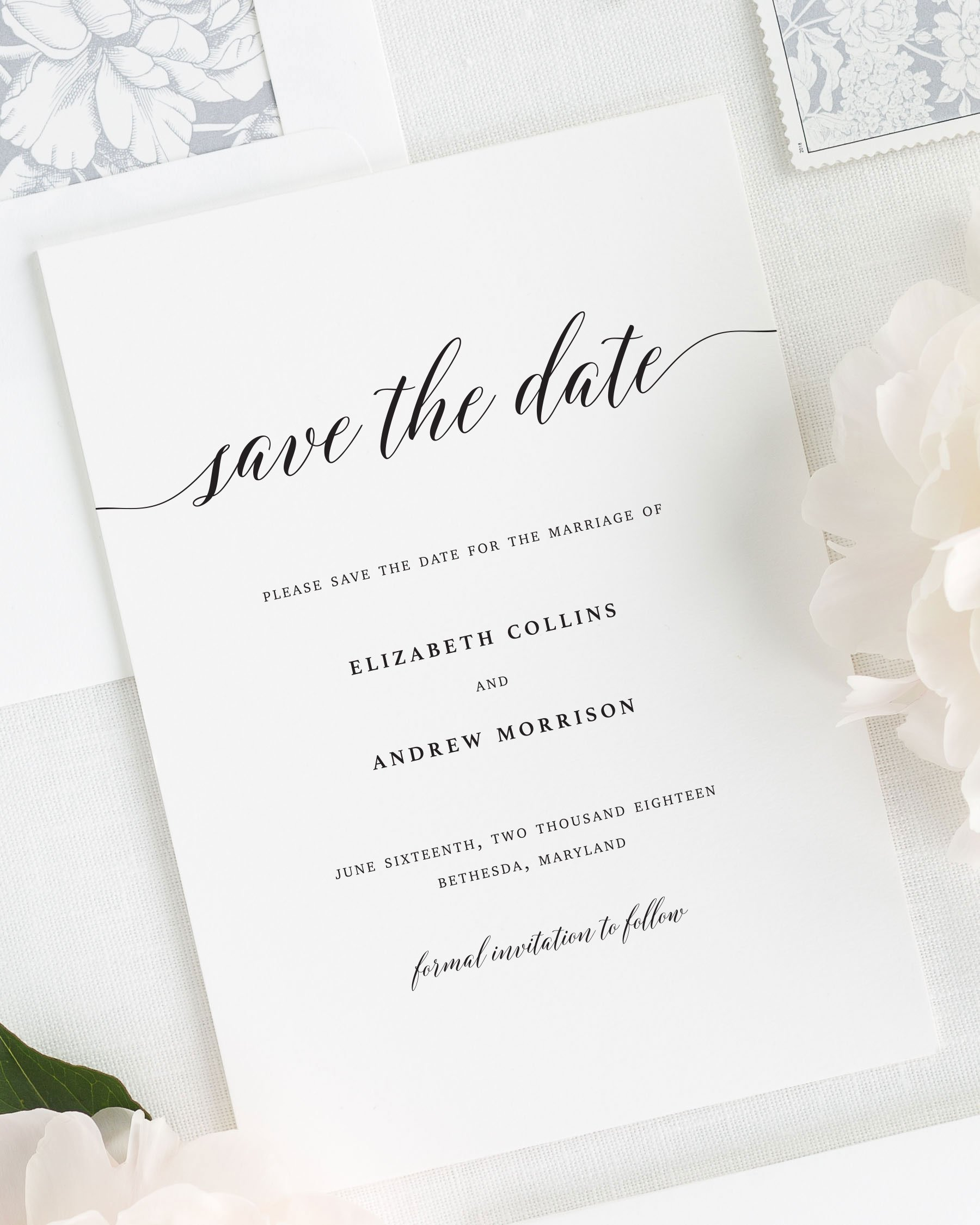 Matching Save The Date And Wedding Invitations: Elegant Romance Save The Date Cards