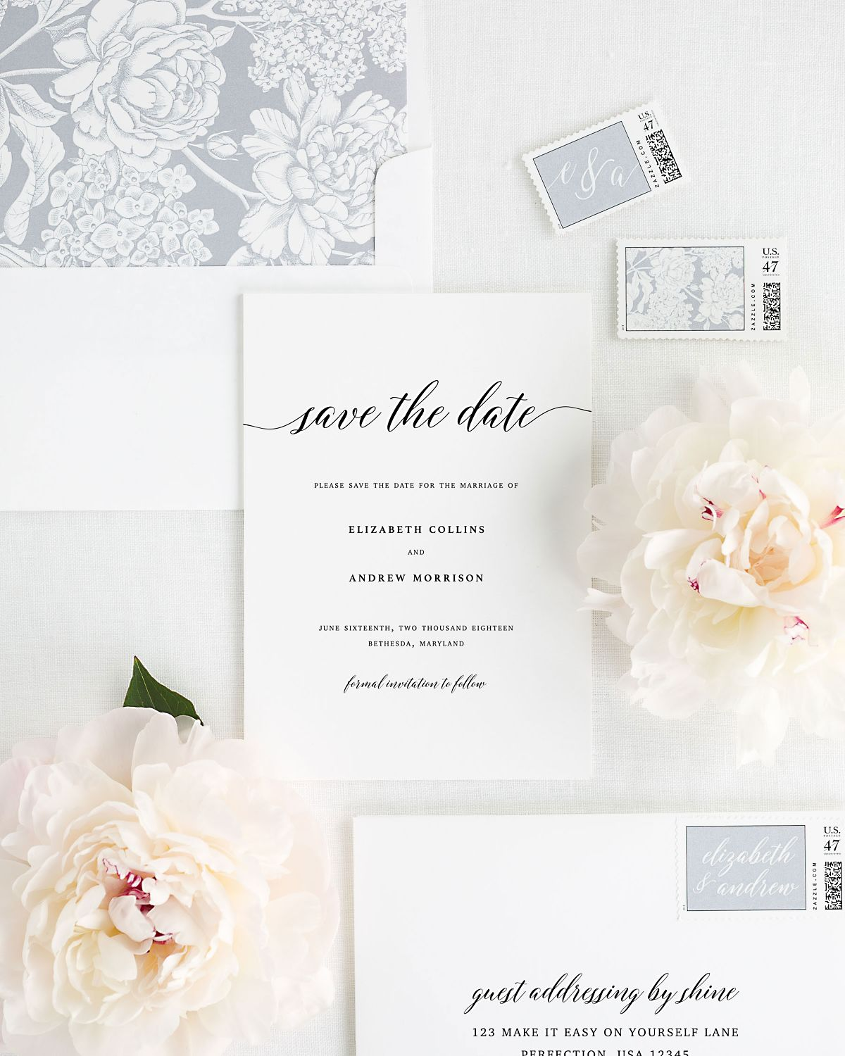 Save the Date with Gray Envelope Liner and Personalized Stamps