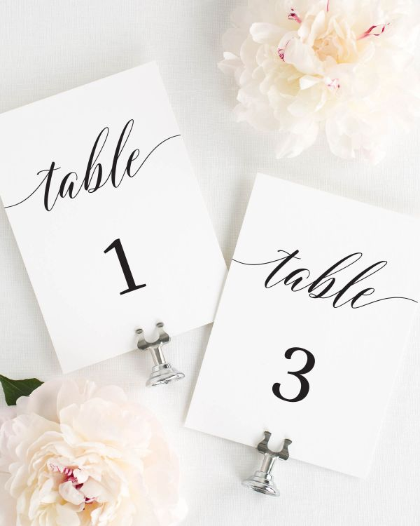 Elegant Romance Table Numbers