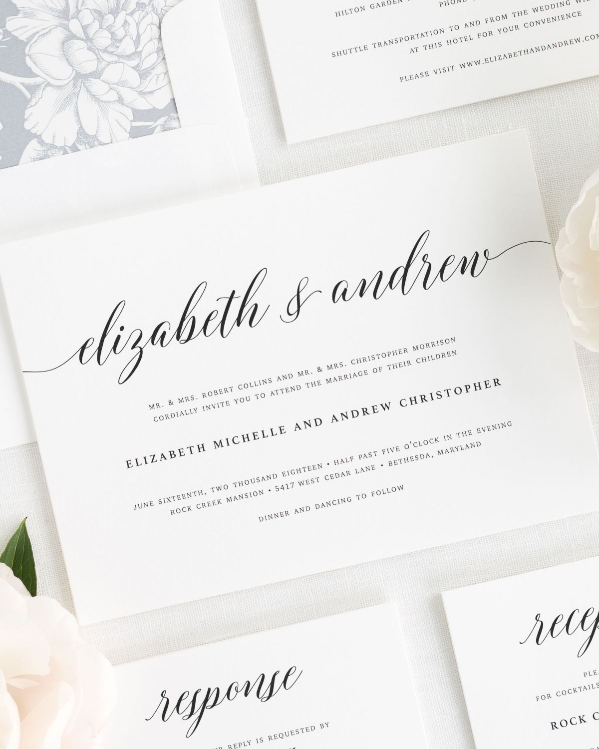elegant wedding invitations with a dove gray envelope liner