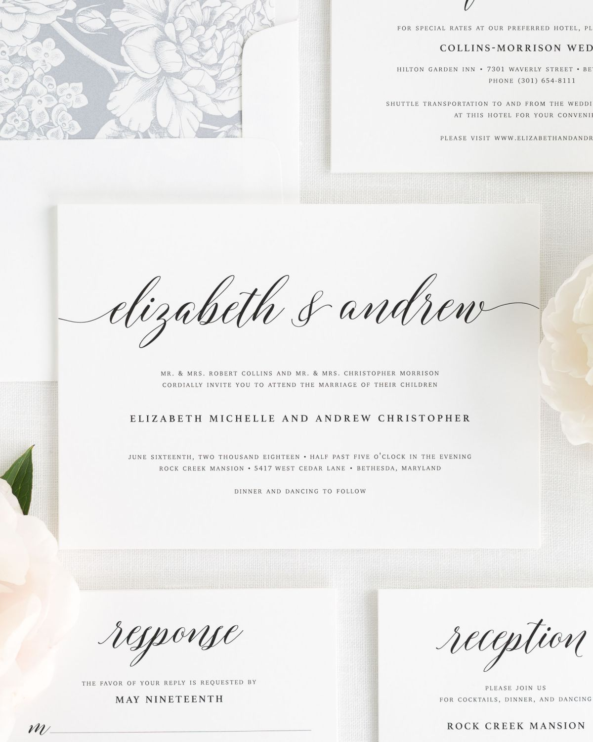 Large Script Wedding Invitations