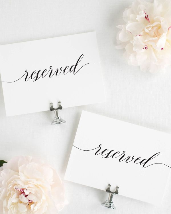 Elegant Romance Reserved Signs