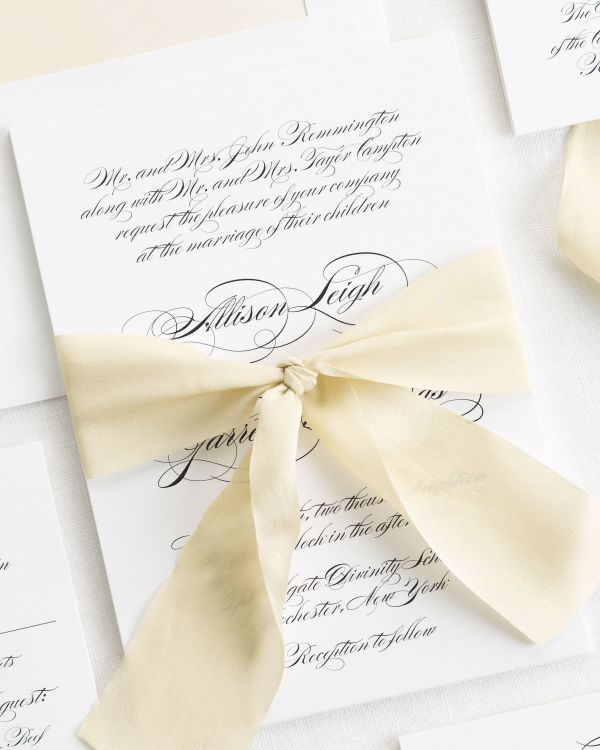 Elegant Script Ribbon Wedding Invitations
