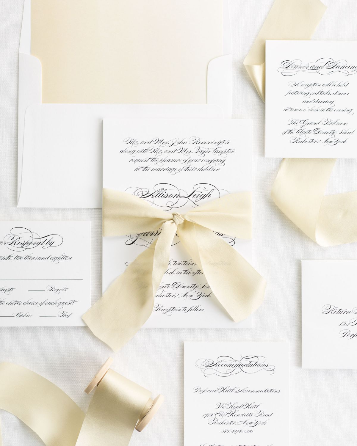 Complete Wedding Invitation Suite with Honey Silk Ribbon and Enclosures