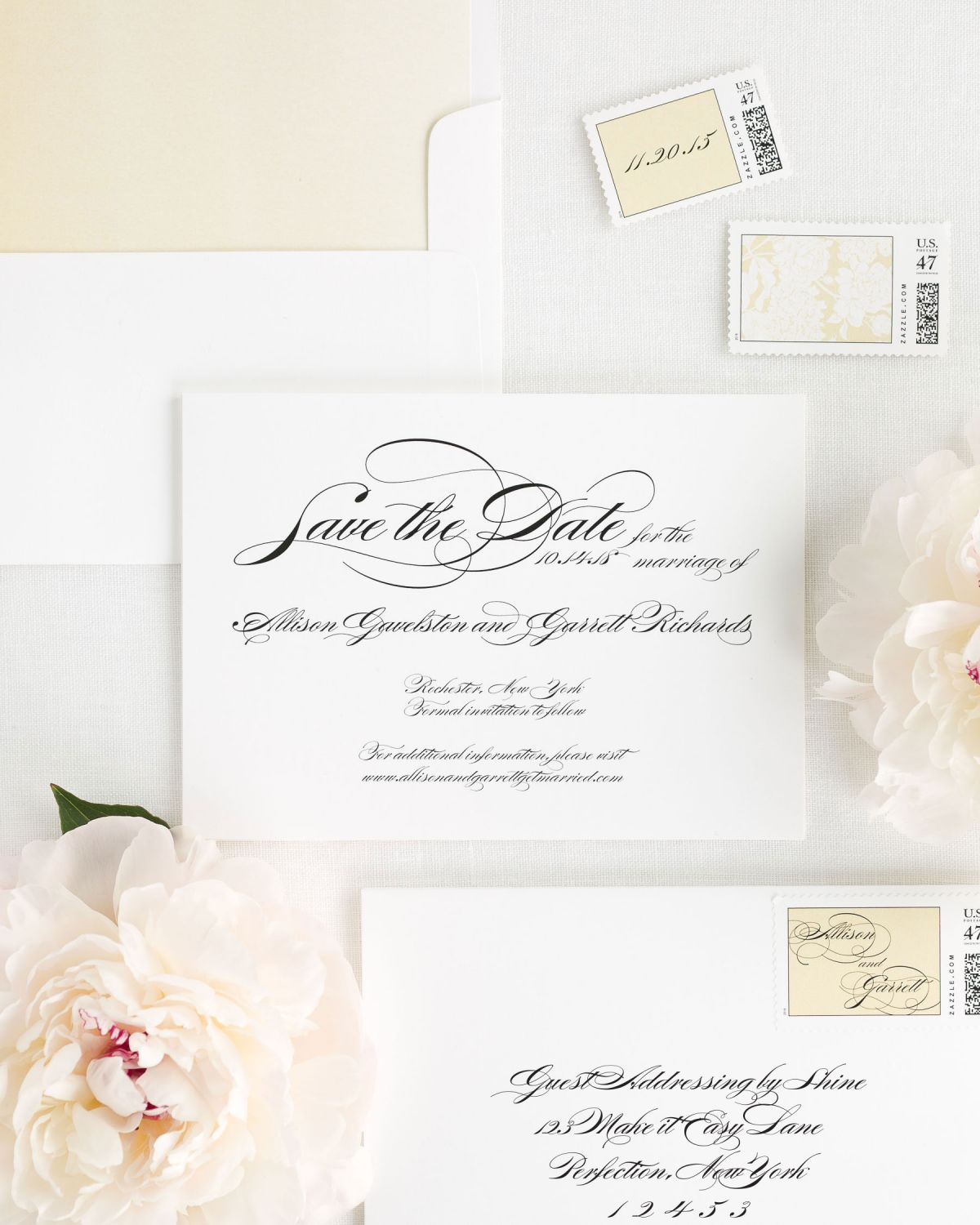 Save the Date with Gold Dust Envelope Liner and Custom Postage