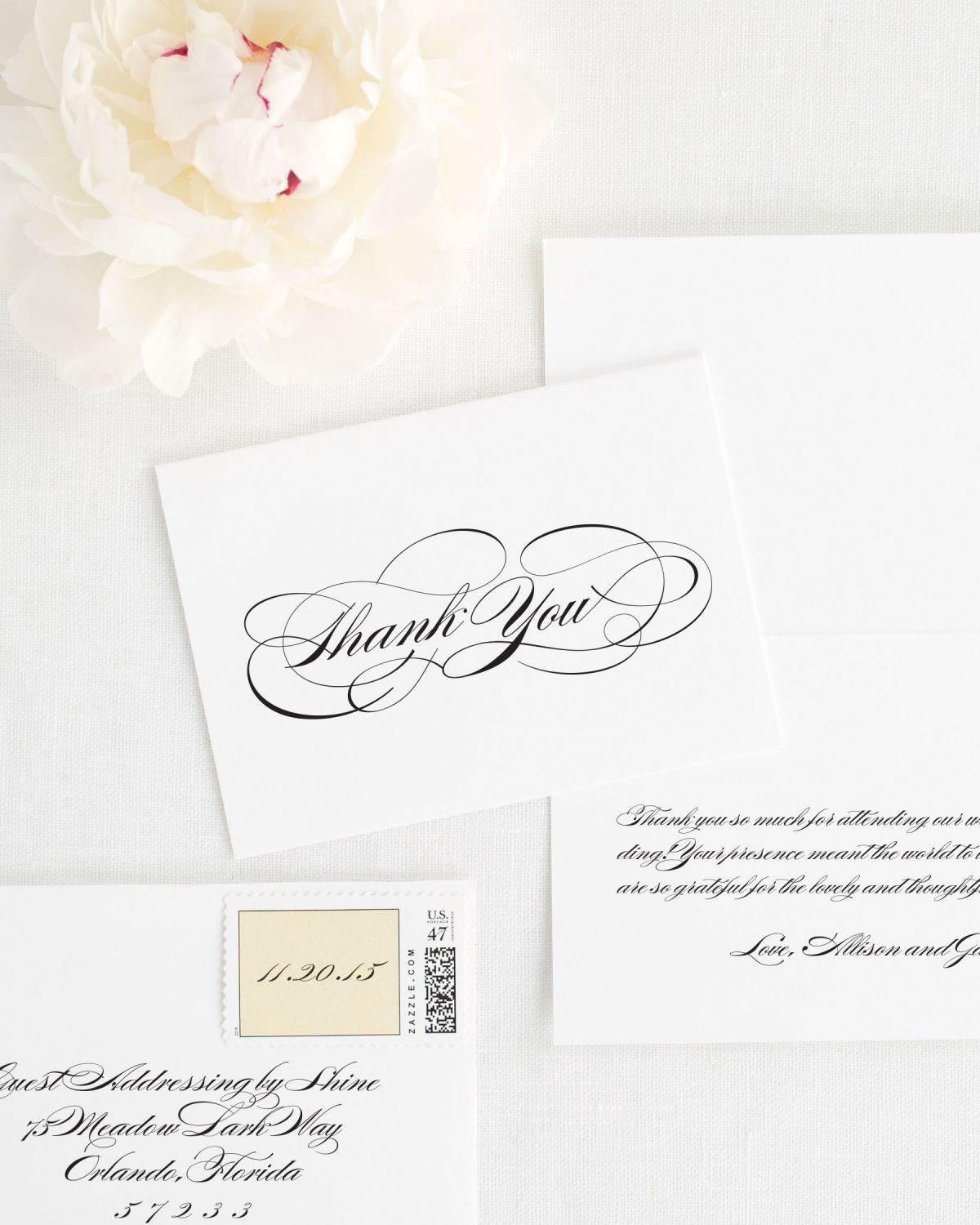 All Script Thank You Cards for Weddings