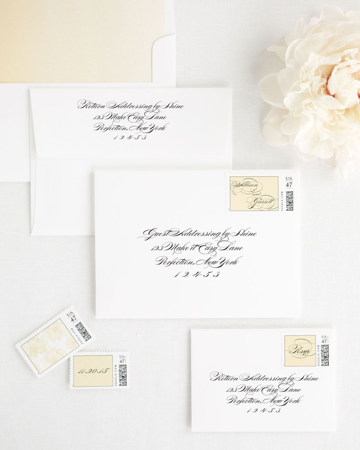 Wedding Invitation Envelopes with Gold Dust Custom Postage and Watercolor Liner