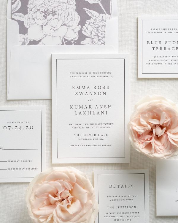 Gallery Minimalist Wedding Invitations: Minimalist Letterpress Wedding Invitations In Dusty Purple