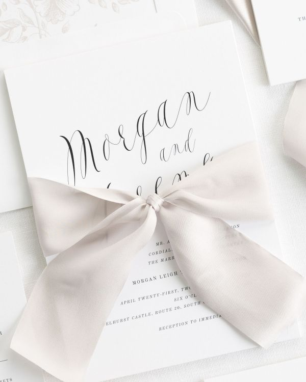 classic and simple silk ribbon wedding invitations in mocha
