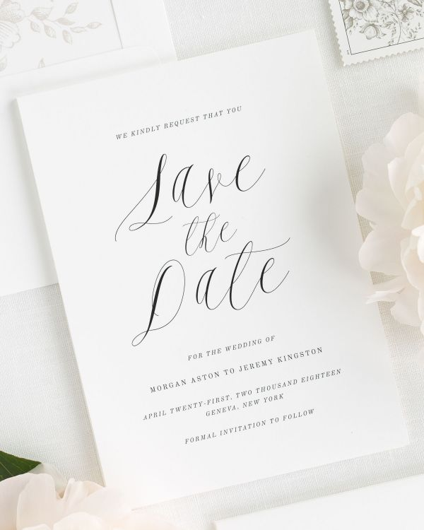 Ethereal Calligraphy Save the Date Cards
